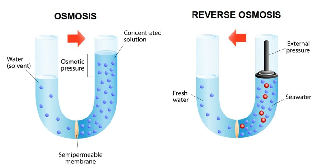 Osmosis and Reverse osmosis diagram
